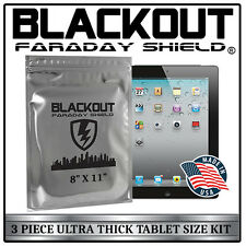"""FARADAY CAGE EMP ESD BAGS 3 PC TABLET SIZE 8"""" X 11"""" ULTRA THICK By BLACKOUT®"""