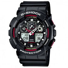 Mens Casio G-Shock red detail ana/digi chronograph watch GA-100-1A4ER