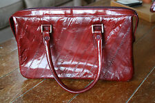 Vintage Deep Red Eel Skin Purse Handbag Medium Square w/ Handles Korea 7.5 x 12