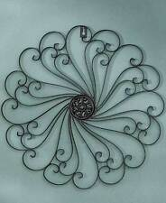 Black Scrolled Wall Round Metal Medallion Entryway Dining/Living Decor Home Art