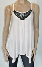 HOT OPTIONS Designer Pink Asym Embroidered Tank Top Size 14 BNWT #sS103