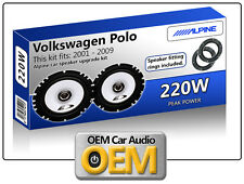 VW Polo Rear Door speakers Alpine car speaker kit with Fitting Rings 220W Max