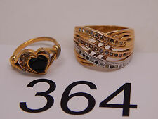 Vintage Jewelry LOT OF 2 Rings GOLD TONE RHINESTONES 364