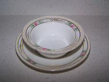 BEAUTIFUL HANDPAINTED / HAND PAINTED NIPPON CUSTARD DISH / BOWL WITH UNDERPLATE
