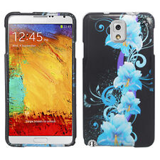 For Samsung Galaxy Note 3 HARD Protector Case Snap on Phone Cover Blue Flowers
