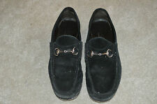 Gucci Black Suede Horsebit Slip On Loafers Moccasins Mens Size 44E UK 10