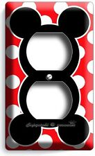 MICKEY MOUSE EARS POLKA DOTS DUPLEX OUTLET WALL PLATE COVER BABY NURSERY BEDROOM