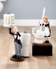 Humorous Butler Shaped Toilet Paper Holder Maid Shaped Toilet Brush Holder Set
