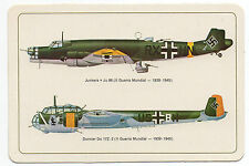1985 Portugese Pocket Calendar German WW2 Aircraft Junkers Ju86 & Dornier Do 17