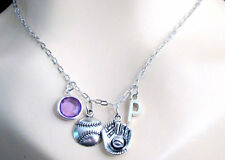 Baseball charm necklace initial Charm Baseball Mitt,Bassball,BirthStone Jewelry