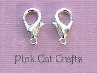 25 LOBSTER CLASPS 14mm Silver Plated FINDINGS