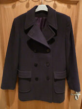 WOOL JACKET SIZE 12 COLOUR DARK PURPLE DOUBLE BREASTED LARGE FRONT POCKETS bhs