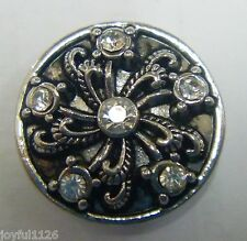 Noosa Style Snap on Chunk Button Swirly 6 Clear Jewels Antique Silver Aus Seller