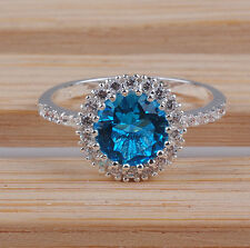 Fashion jewelry Light Sapphire gemstone 925 Silver ring Size :7 M184