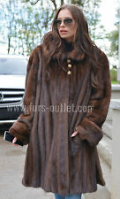 BROWN SAGA MINK FUR SWINGER COAT CLASS OF SABLE CHINCHILLA FOX JACKET LONG VEST
