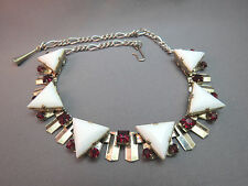 VTG Art Deco Link Necklace Milk Glass Triangle Stone Red Rhinestone Princess Cut