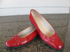 Salvatore Ferragamo Boutique Red Patent Gancini Women's Shoes Size 8.5 AA EUC