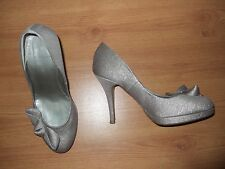 LADIES LK BENNETT SILVER GLITTERY BOW FRONT PLATFORM HEEL SHOES SIZE 38 UK 5