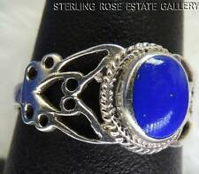 Blue TURQUOISE Open side Work STERLING SILVER 925 ESTATE Cocktail RING size 8