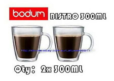 IN BOX BODUM BISTRO DOUBLE WALL CLEAR THERMO-GLASS MUGS FOR COFFEE TEA x2 300ML