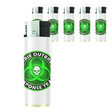 Butane Refillable Electronic Lighter Set of 5 Zombie Design-003
