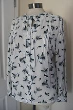 size 12 white chiffon top with stunning turquoise design new marks and spencer