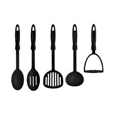 New 5 Piece Black Nylon Kitchen Cooking Utensil Set Gadget Tool Loop Handles