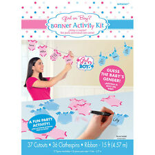'Girl or Boy?' Baby Shower Gender Reveal Banner Activity KIt - Party Game