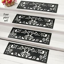 Set of 4 Kitty Cat Scroll Pattern Black Rubber Outdoor Stair Treads Step Mats