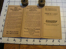 Vintage paper: 1919 ESSENKAY a tire filler, PRICE LIST no punctures no blowouts