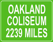 Oakland A's and Raiders Oakland Coliseum mileage sign - distance to your house