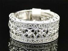 Ladies 14K White Gold Diamond Antique Estate Engagement Bridal Band Ring .52 Ct
