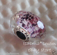 NEW Authentic PANDORA Faceted SEA GLASS Purple MURANO Glass Charm~Bead 791608