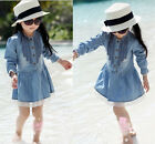 Girl Kids 2-8Y Denim Blue Beautiful Lace Cowboy Clothes Long Sleeve Dress WSX
