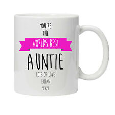 Personalised Worlds Best Auntie Mug - Ideal Birthday/Xmas Gift - Various Colours