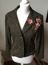 PER UNA Brown Mix, Flower Embroidered Wool Fitted Jacket, Size 12