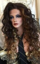BEAUTIFUL Long, Curly Ombre Brown, Red, Blonde, HH Blend, Long, LACE FRONT Wig!