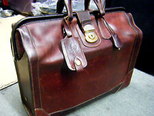 RARE vintage Holland Brothers USA Rustic Brown Leather Doctor Lawyer Briefcase