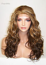 Brown Blonde Mix Wavy Layered Lace Front Wig Heat Ok Iron Safe Resistant Vog