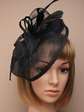 LADIES LARGE black HATINATOR HAIR FASCINATOR 5265 FEATHERS HAT  WEDDING