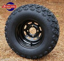 "GOLF CART 10""x7"" BLACK STEEL WHEELS and 20""x10""-10"" ALL TERRAIN TIRES (4)"