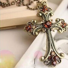 Women Lady Vintage Retro Crystal Pendant Cross Necklace Sweater Jewerly
