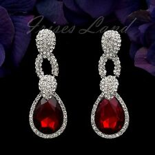 Rhodium Plated Ruby Red Clear Crystal Rhinestone Drop Dangle Earrings 00127 New