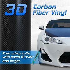 "3D Black Carbon Fiber Vinyl Wrap Sheet Film Bubble Free Air Release 24"" x 48"" K"