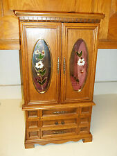 Wood Jewelry Box with Glass Front Doors ~ Lot of storage