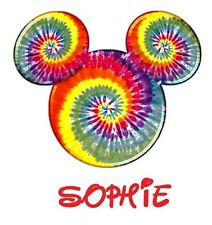 DISNEY FAMILY VACATION MICKEY TIE DYE PERSONALIZED T-SHIRT IRON ON TRANSFER