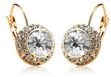 Austrian Crystal Jewellery Diamond Shine Gold & White Circle Earrings E417