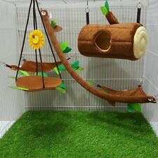 New Arrival!!! 5 Pcs Sugar Glider Cage Set Log Brown Forest Pattern, Small Pet.