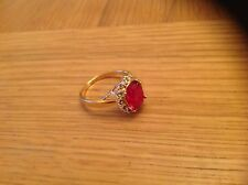 A  Stunning Ladies'Ring with a  RED 'Stone' Size P .beach find