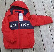 NWT Toddler Boys Nautica Winter Bubble Coat Jacket Red Navy Fleece Lined 2T